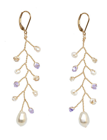 Gold and purple delicate vine bridal earrings with 14k gold filled wire wrapping, freshwater pearls, and Swarovski crystals. Handcrafted artisan bridal jewelry by J'Adorn Designs.