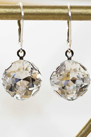 Simple sparkly earrings for bridal accessories or date night jewelry, cushion cut earrings, Posh Bridal Earrings by J'Adorn Designs