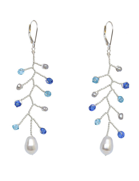 Something blue bridal earrings, sterling silver wedding earrings with blue Swarovski crystals and light grey freshwater pearls, handcrafted drop earrings by J'Adorn Designs artisan wedding jewelry