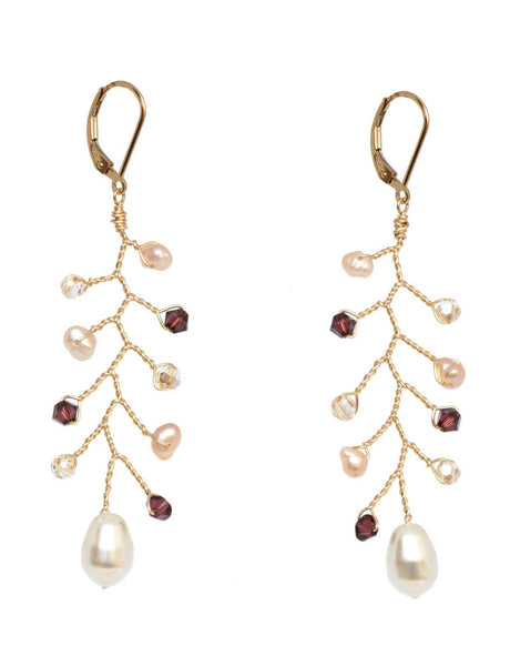 Pretty Gold Vine Earrings in Merlot and Blush Crystals with Pearls, by J'Adorn Designs artisan wedding jewelry