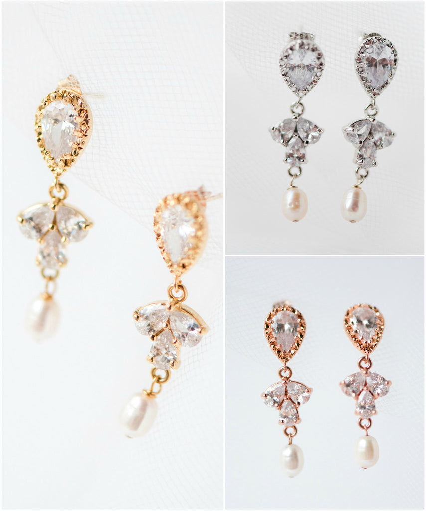 Inverted Teardrop Sparkly Cubic Zirconia Crystal Drop Earrings In Silver Gold  Rose Gold Glam Wedding Jewelry