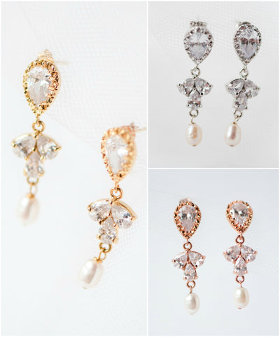 Inverted teardrop sparkly cubic zirconia crystal drop earrings in silver gold rose gold glam wedding jewelry, by J'Adorn Designs, Baltimore Maryland couture and custom jewelry studio, photography by Nichole Rosado Meredith