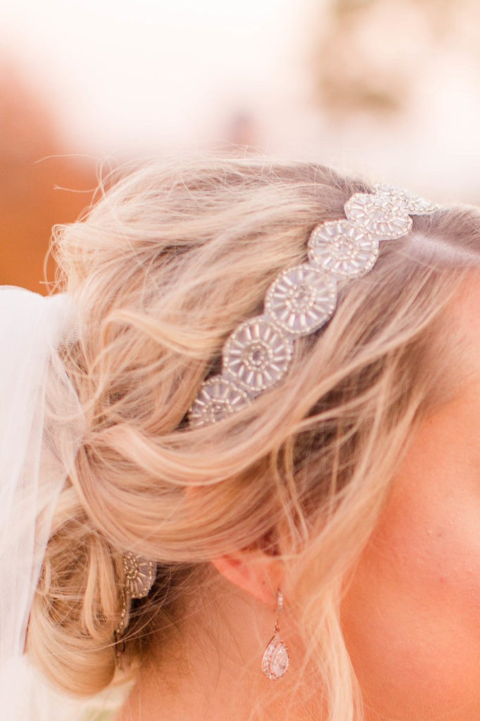 Vintage beaded bridal headpiece, antique silver bridal headband, couture bridal accessories by J'Adorn Designs, Maryland custom bridal jeweler