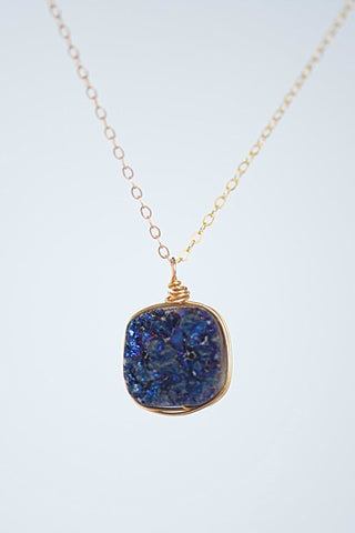 Delicate gold necklace with dark purple druzy square pendant, wire-wrapped gemstone necklace by J'Adorn Designs custom jeweler