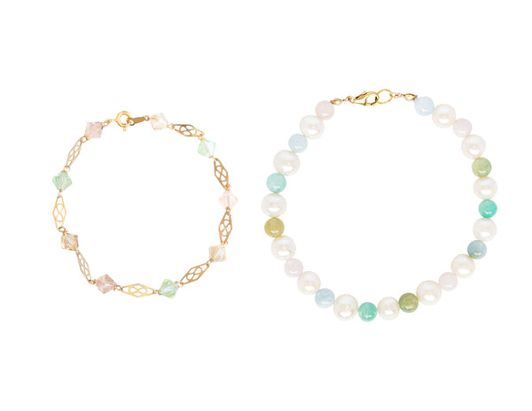 Two rainbow colored bracelets that we recommend wearing together in a stack or on different wrists for a coordinated look! Light rainbow colors make these the perfect high quality jewelry pick for spring fashion. Handcrafted gemstone and gold bracelets by J'Adorn Designs artisan jewelry.