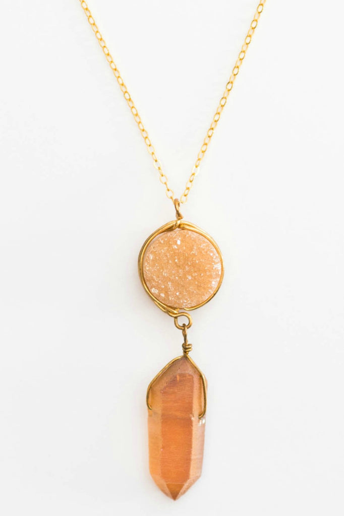 Druzy necklace, raw crystal, neutral jewelry, by J'Adorn Designs