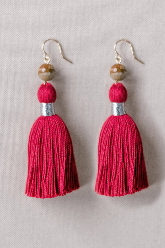 Red tassel earrings, Red and brown tassel earrings, high quality tassel jewelry, summer jewelry trends, gemstone tassel earrings, by J'Adorn Designs custom jewelry made in Baltimore Maryland