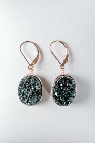 Black druzy oval gemstone earrings in rose gold, handcrafted gemstone jewelry by J'Adorn Designs