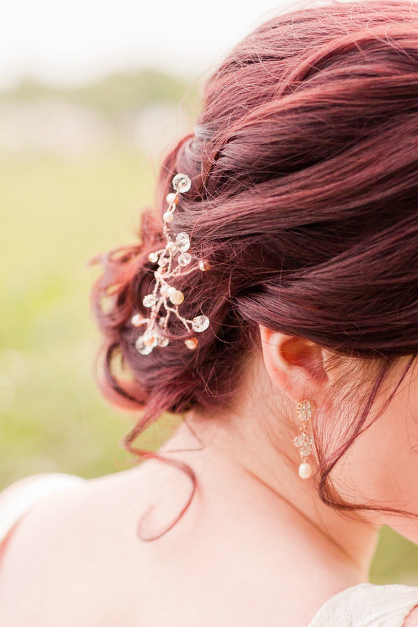 Pearl rose gold bridal hairpiece with pearls and crystals by J'Adorn Designs