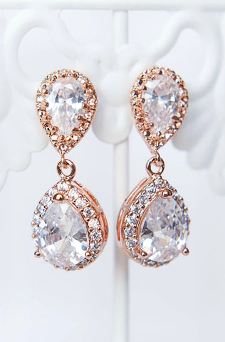 Rose gold teardrop sparkly bridal earrings, modern bridal jewelry by J'Adorn Designs