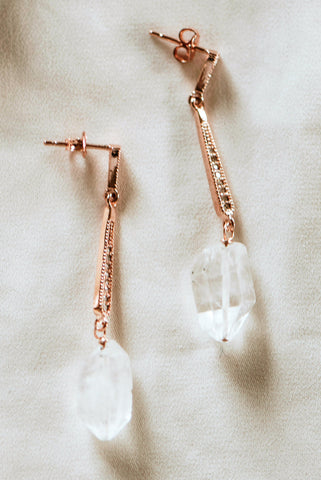 Art deco bridal earrings with rose gold and raw crystals by J'Adorn Designs custom jeweler