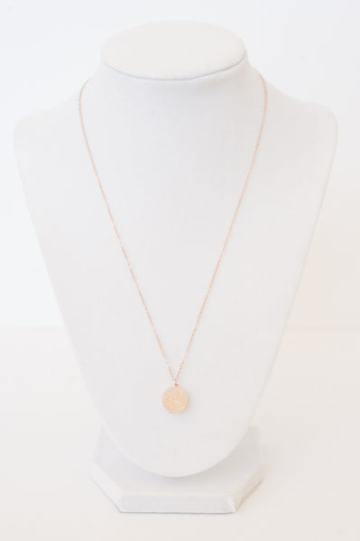Rose gold druzy necklace, delicate everyday druzy necklace, modern luxury jewelry by J'Adorn Designs
