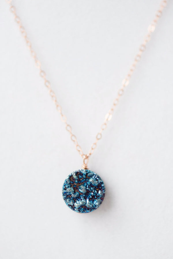 Rose gold sapphire druzy necklace, delicate everyday druzy necklace, modern luxury jewelry by J'Adorn Designs