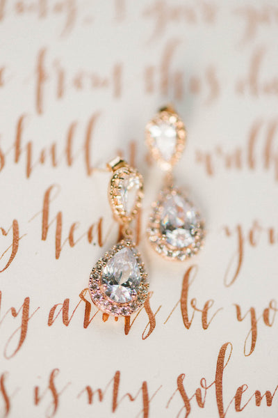 Rose gold crystal teardrop halo earrings by J'Adorn Designs custom jewelry studio