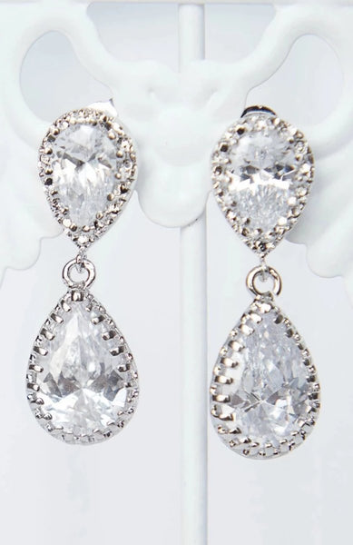 Glam bridal earrings, sparkly wedding earrings, double teardrop earrings by J'Adorn Designs