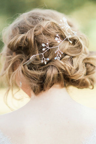 Silver crystal hair vine wedding hairpiece by J'Adorn Designs