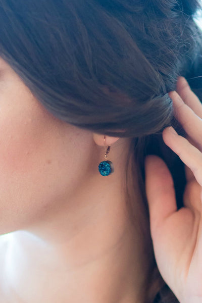 Rose Gold Druzy Earrings in Sapphire Blue