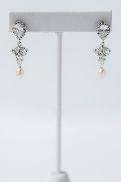 Sparkly Silver Sprout and Pearl Bridal Earrings, Comfortable Wedding Jewelry for Sensitive Ears, J'Adorn Designs custom jeweler in Maryland