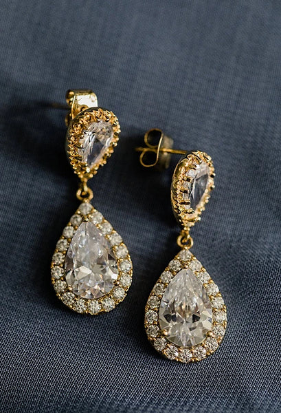 Sparkly gold bridal teardrop earrings, wedding earrings for sensitive ears with hypoallergenic posts, made by J'Adorn Designs handcrafted jewelry in Baltimore Maryland