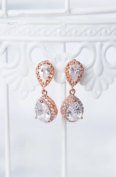 Rose gold earrings for wedding, halo bridal earrings by J'Adorn Designs