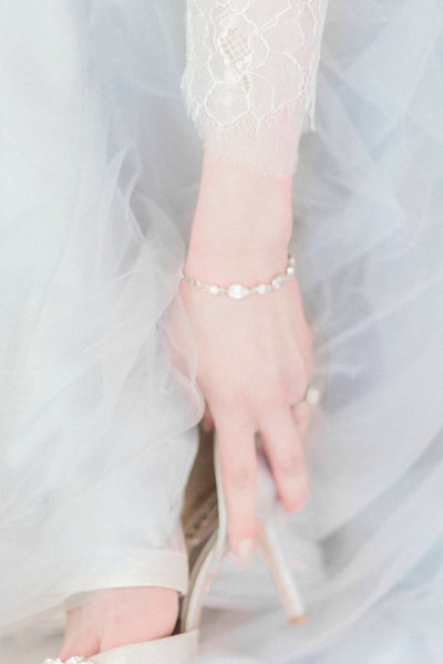 Pretty bridal bracelet with blue wedding dress, J'Adorn Designs custom jewelry
