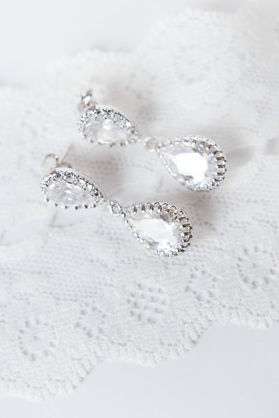 Glam bridal earrings, sparkly wedding earrings, pear shape earrings by J'Adorn Designs