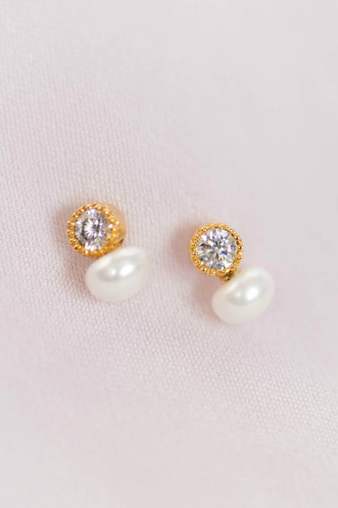 Tiny pearl and crystal stud earrings for second hold piercing, dainty earrings by J'Adorn Designs modern jewelry