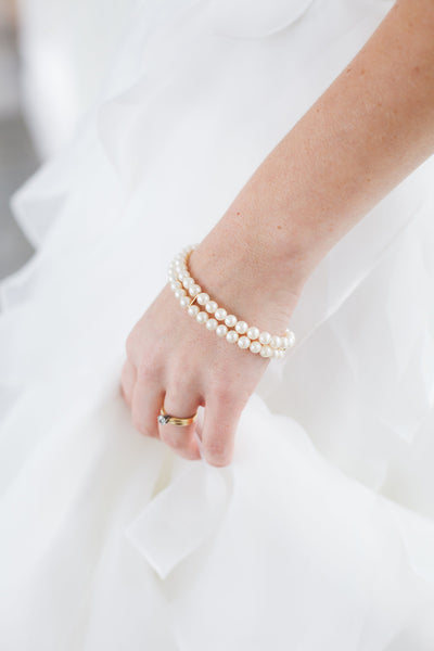 Vintage pearl bracelet, artisan bridal bracelet of antique pearl jewelry by J'Adorn Designs custom jewelry