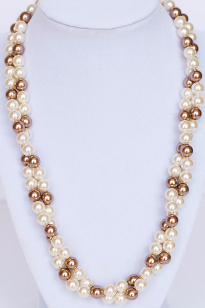 Twisted pearl necklace, bridal statement necklace by J'Adorn Designs