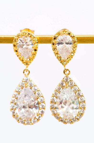 Gold halo earrings, double crystal teardrop earrings, elegant bridal jewelry by J'Adorn Designs