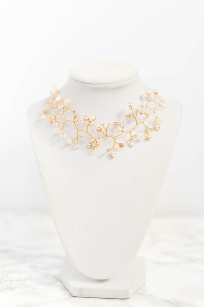 Couture choker bridal necklace, gold bridal vine, wedding jewelry by J'Adorn Designs custom jewelry