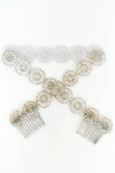 Couture vintage bridal headpiece, beaded silver hairpiece by J'Adorn Designs
