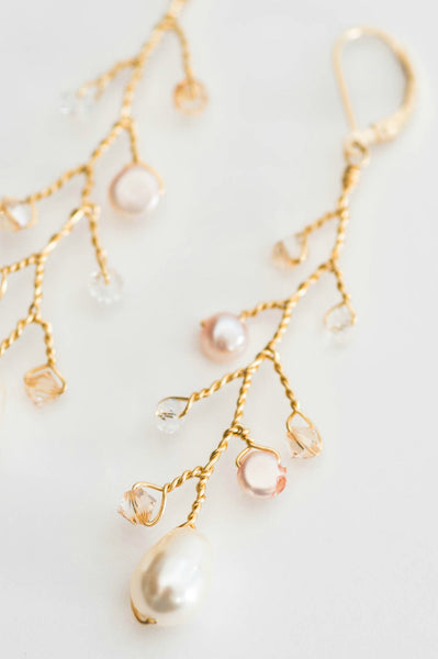 Boho bridal earrings with pink peach and ivory crystal & freshwater pearl details by J'Adorn Designs artisan wedding jewelry made in Maryland