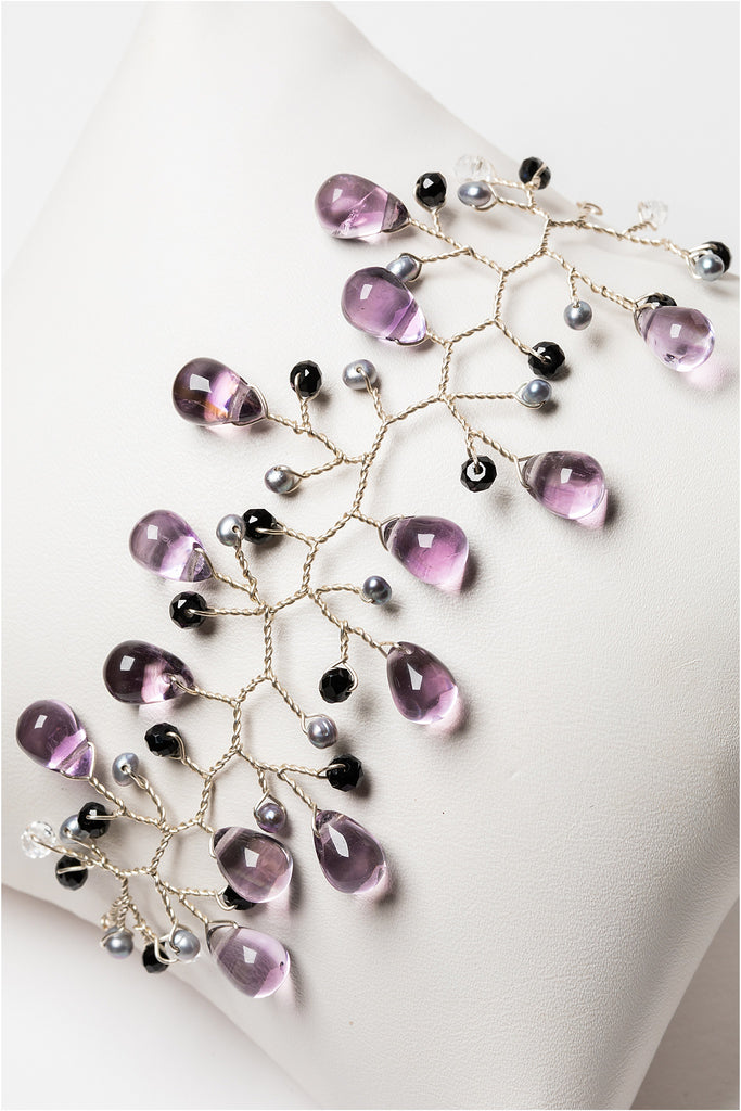 Lightweight sterling silver vine cuff style bracelet with amethyst, freshwater pearls, and black spinel gemstones. Turn it into a jewelry set by coordinating with matching branch earrings, pictured. Handcrafted nature inspired jewelry by J'Adorn Designs artisan Alison Jefferies