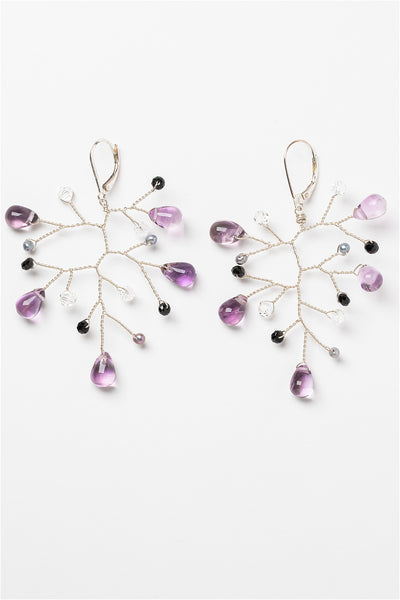 Lightweight sterling silver branch earrings with amethyst, freshwater pearls, and black spinel gemstones. Handcrafted nature inspired jewelry by J'Adorn Designs artisan Alison Jefferies