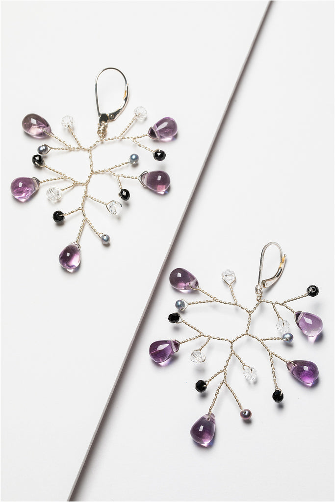 Lightweight sterling silver branch earrings with amethyst, freshwater pearls, and black spinel gemstones. Handcrafted nature inspired jewelry by J'Adorn Designs artisan Alison Jefferies.