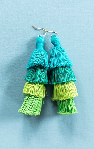 Large tassel earrings, aqua turquoise blue green tassel earrings, tiered tassels, multilayer tassel earrings, summer jewelry by J'Adorn Designs jewelry, Baltimore MD custom jeweler