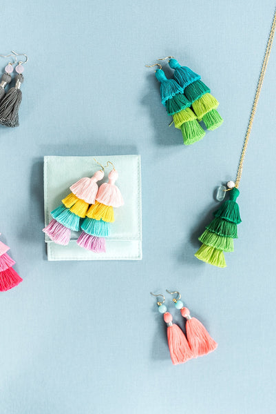 Large tassel earrings, rainbow tassel earrings, tiered tassels, multilayer tassel earrings, summer jewelry by J'Adorn Designs jewelry, Baltimore MD custom jeweler