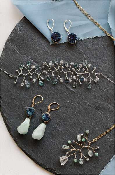 A delicate aquamarine and silver freshwater pearl vine bracelet styled with an emerald vine necklace, blue druzy drop earrings, and blue druzy amazonite earrings by J'Adorn Designs fine jewelry artisan Alison Jefferies of Baltimore, Maryland. March birthstone bracelet with aquamarines. Something blue bracelet for a luxury wedding.