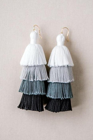 Black and white tiered tassel earrings, neutral tassel earrings, high quality tassel jewelry, summer jewelry trends, gemstone tassel earrings, by J'Adorn Designs custom jewelry made in Baltimore Maryland