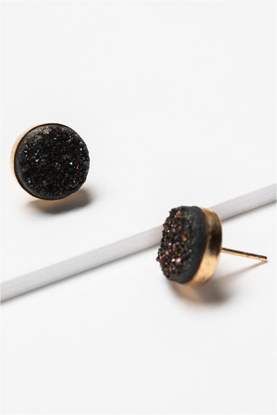 Black druzy gemstone stud earrings in gold. Artisan jewelry and luxury bridal accessories handmade in Maryland by Alison Jefferies of J'Adorn Designs.