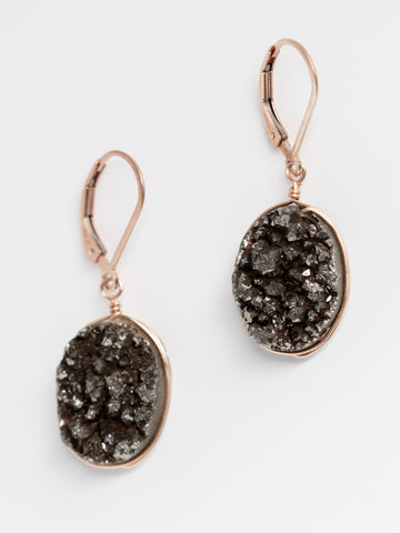 Black Druzy Earrings in Rose Gold