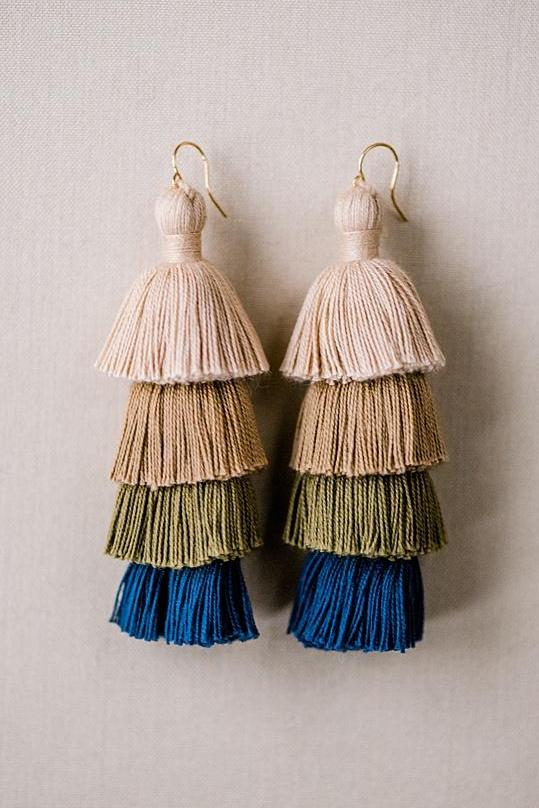 Blue neutral tiered tassel earrings, winter tassel earrings, high quality tassel jewelry, summer jewelry trends, gemstone tassel earrings, by J'Adorn Designs custom jewelry made in Baltimore Maryland