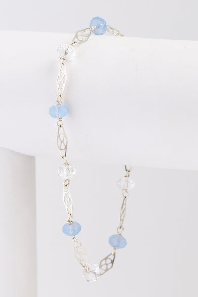 Opal and silver crystal bridal link bracelet, handcrafted delicate jewelry by J'Adorn Designs artist Alison Jefferies