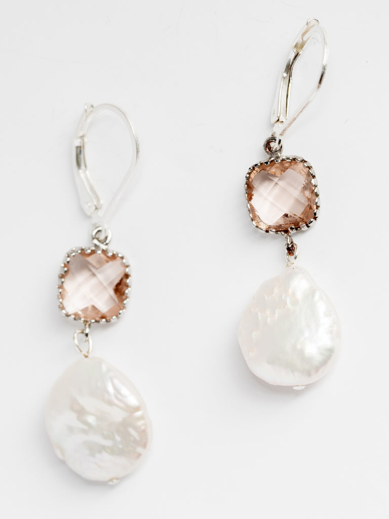 54035d7522716 Blush & Freshwater Pearl Drop Bridal Earrings