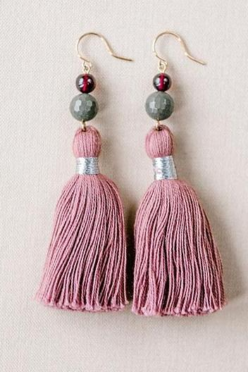 Blush tassel earrings, grey and pink tassel earrings, high quality tassel jewelry, summer jewelry trends, gemstone tassel earrings, by J'Adorn Designs custom jewelry made in Baltimore Maryland