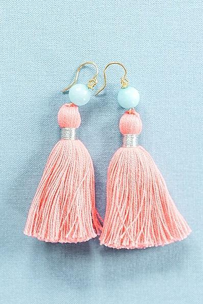 Coral tassel earrings, pink tassel earrings, high quality tassel jewelry, summer jewelry trends, gemstone tassel earrings, by J'Adorn Designs custom jewelry made in Baltimore Maryland