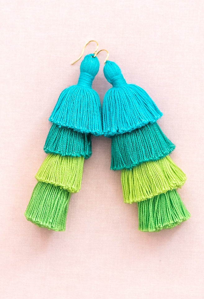 Blue and green aqua ombre tassel earrings, tiered tassel earrings, large tassel earrings, comfortable statement earrings, trendy spring jewelry by J'Adorn Designs Maryland jewelry designer