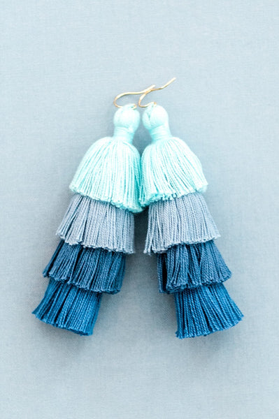 Blue ombre tassel earrings, tiered tassel earrings, large tassel earrings, comfortable statement earrings, trendy spring jewelry by J'Adorn Designs Maryland jewelry designer