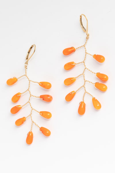 Handcrafted gemstone statement earrings, coral branch earrings in gold, lightweight statement earrings by J'Adorn Designs artisan jewelry